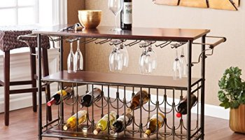 Foldable Wooden Rolling Kitchen Cart With 3 Bottles Wine Rack