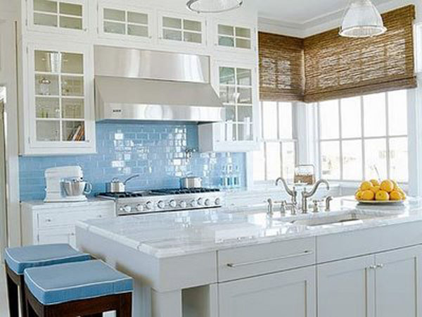 Blue and white colored kitchen