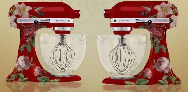 Humming bird themed custom painted kitchen aid mixer