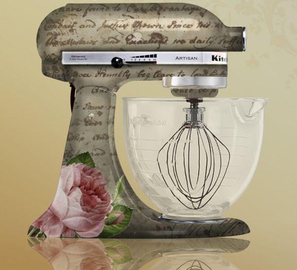 Vintage floral custom painted kitchen aid mixer