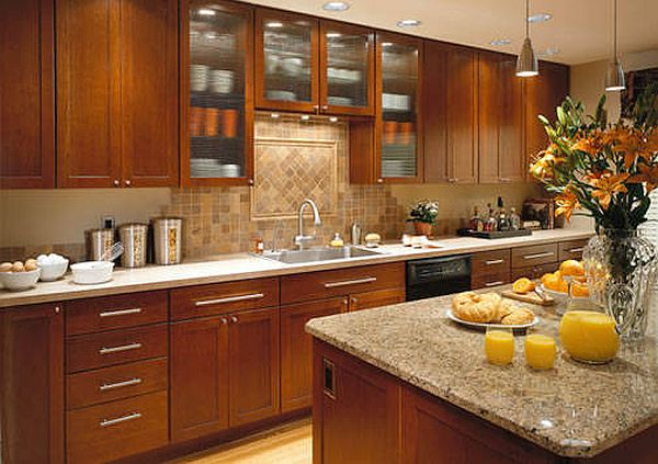 Brown shaker cabinet with glass backsplash
