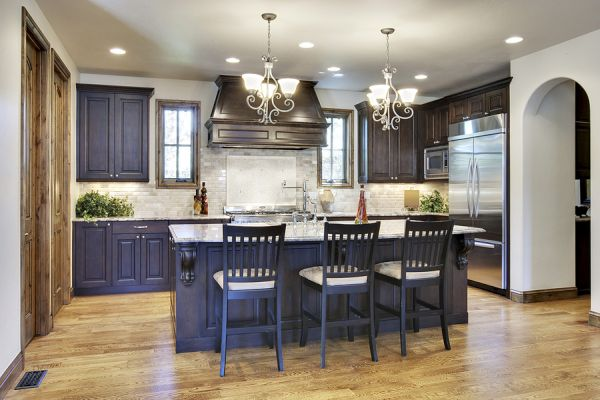 Stunning Classic Ceiling Light Style Kitchen Cabinet Ideas Brick Kitchen Backsplash Twin Chandelier in Blue Color Design