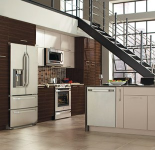 Modern European Style Kitchen Cabinets     Kitchen Craft Pamli Thermofoil kitchen cabinets from the Integra Collection