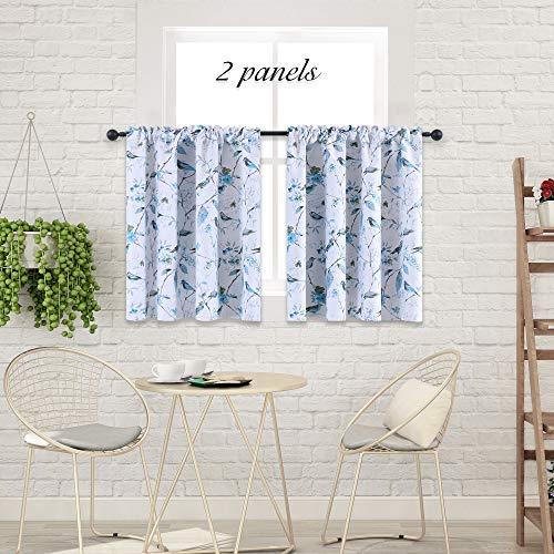 HOLKING Small Kitchen Window Curtains-Bird Curtains Blackout ...