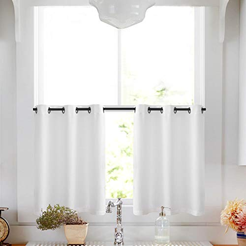 Home & Kitchen White Tier Curtains Semi Sheer Short Curtains Kitchen Casual Weave Cafe Curtains Half Window Treatments 2 Panels 36 L