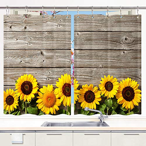 DYNH Sunflower Kitchen Curtain, Spring Flowers on Rustic ...