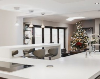 KDC customer kitchen decorated for Christmas