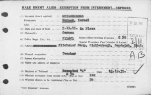 Exemption from internment, 1939