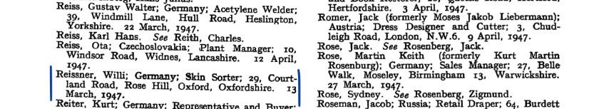 Kitchener camp, Willi Reissner, The London Gazette, 23 May 1947