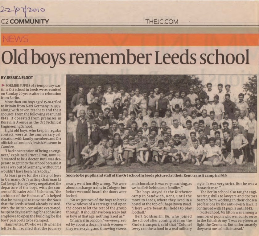 Kitchener camp, Joachim Reissner, Jewish Chronicle article, 2010