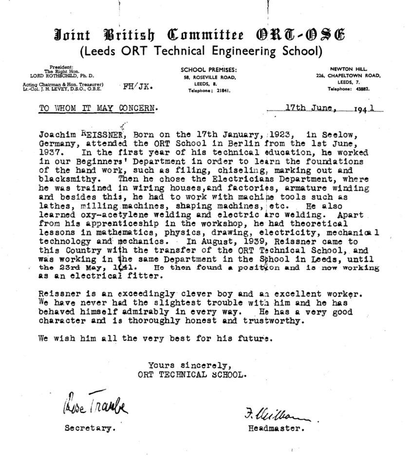 Kitchener camp, Joachim Reissner, ORT letter 1941