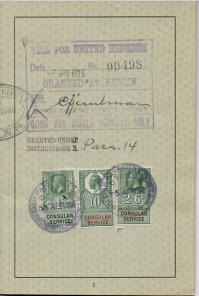 Kitchener camp, Willi Reissner, passport, page 6, 1939