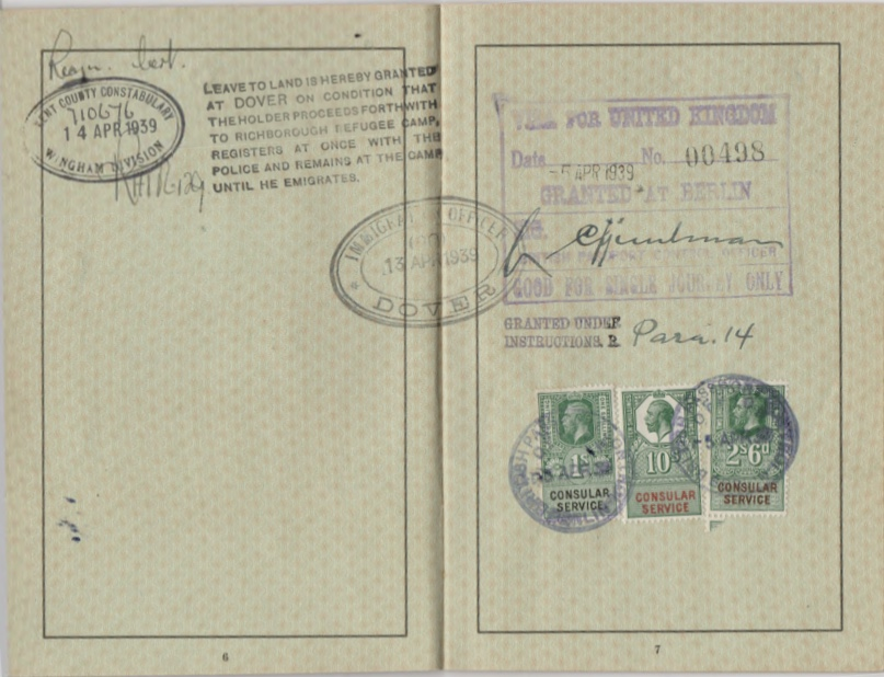Kitchener camp, Willi Reissner, passport, page 8, 1939