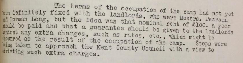 Kitchener camp, CBF minutes, 5 Jauary 1939
