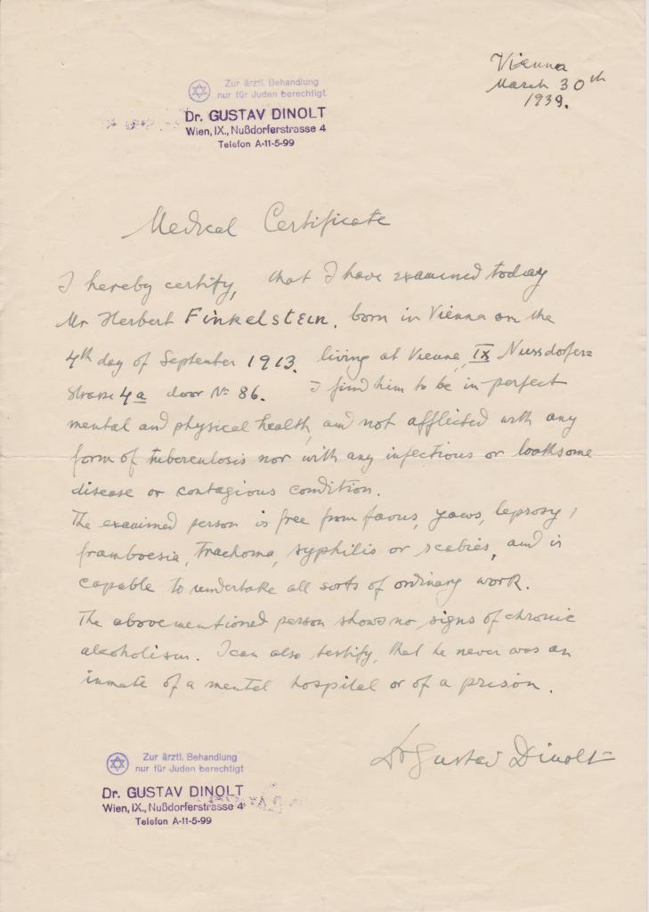 Kitchener camp, Herbert Finkelstein, Health clearance, 30 March 1939