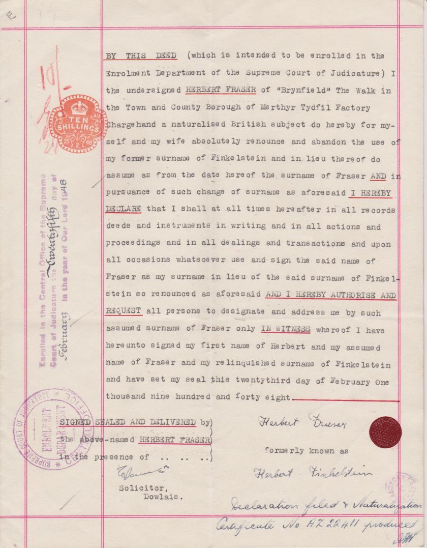 Kitchener camp, Herbert Finkelstein, Official change of name to Herbert Fraser