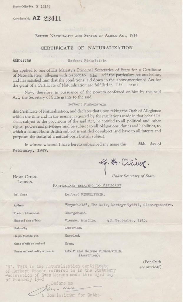 Kitcheer camp, Herbert Fraser, British Naturalisation document, page 1