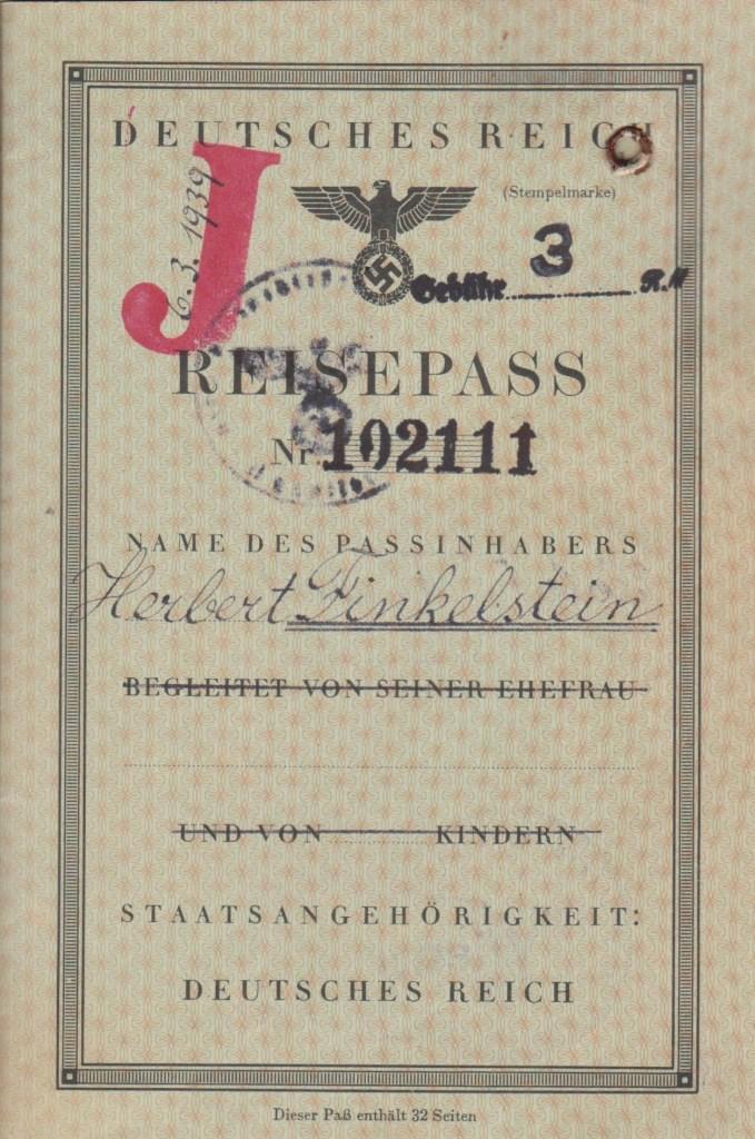 Kitchener camp, 6 March 1939 Herbert Finkelstein, German passport