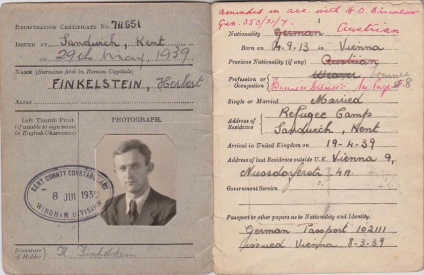 Kitchener camp, Herbert Finkelstein, Alien's card, 29 May 1939