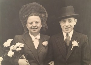 Kitchener camp, Hans Friedmann, with Charlotte, wedding day, October 1946