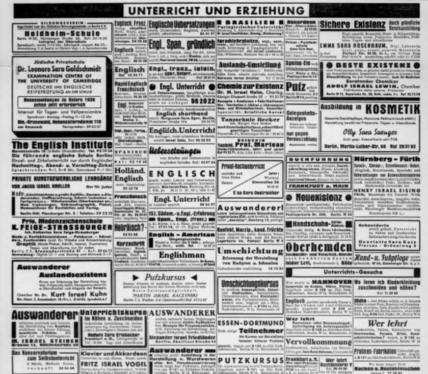 Jüdisches Nachtrichtenblatt, 1939
