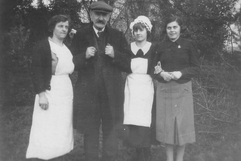 Richborough camp, Sandwich, Erna Finkelstein - Woodnesborough Grange - Mrs Bayley the cook, Mr Carrier the gardener, Hazel the maid, and Erna Finkelstein
