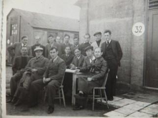 Richborough camp, Sandwich, 1939, Hugo Heilbrunn, front row far right, outside Hut 32