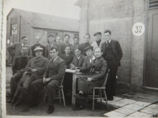 Richborough camp, Sandwich, 1939, Hugo Heilbrunn, front row far right, outside Hut 32