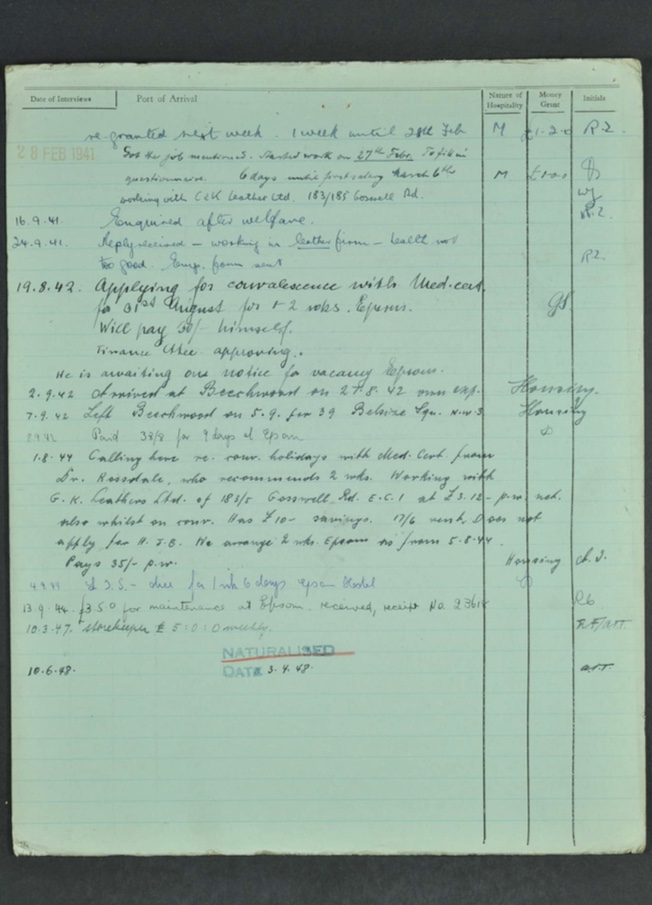 Kitchener camp, Hugo Heilbrunn, German Jewish Aid Committee form, page 6