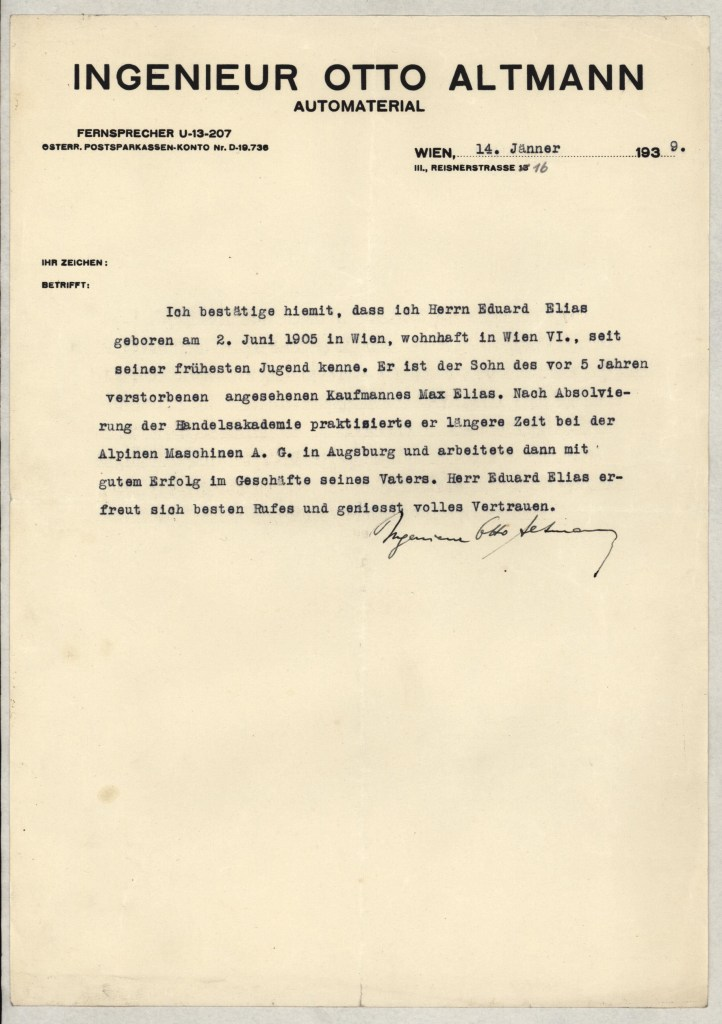 Richborough camp, Eduard Elias, Reference letter, 14 January 1939