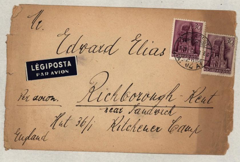 Kitchener camp, Eduard Elias, Hut 36/I, Envelope from Budapest