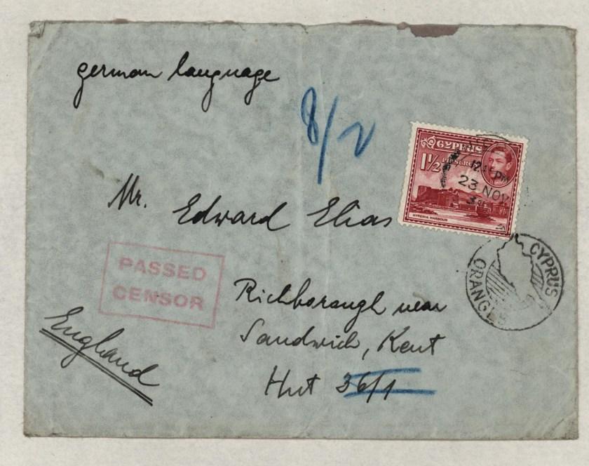 Richborough transit camp, Eduard Elias, Hut 36/I, Envelope from Cyprus