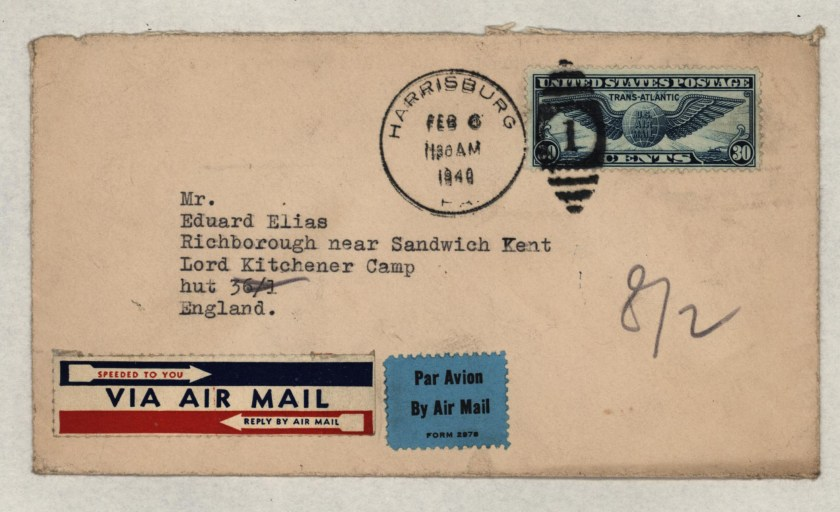 Kitchener camp, Eduard Elias, Hut 36/I, Envelope from USA, 6 February 1940