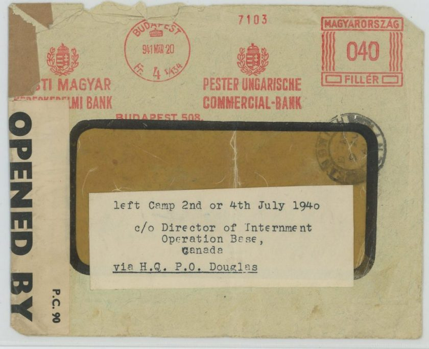 Eduard Elias, Envelope, 20 March 1941, Budapest, Canada