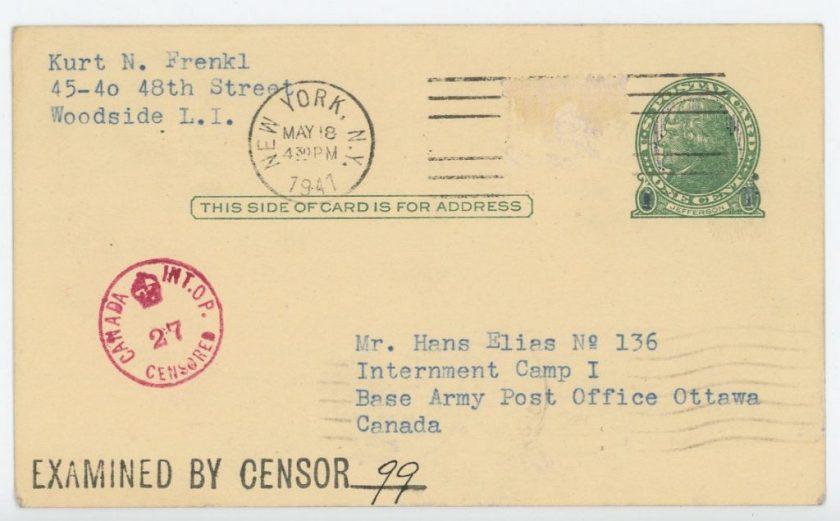 Eduard Elias, number 136, Internment camp 1, Canada, Postcard, 18 May 1941, Address