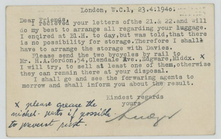 Kitchener camp, Eduard Elias, Bloomsbury House, Luggage, 23 April 1940