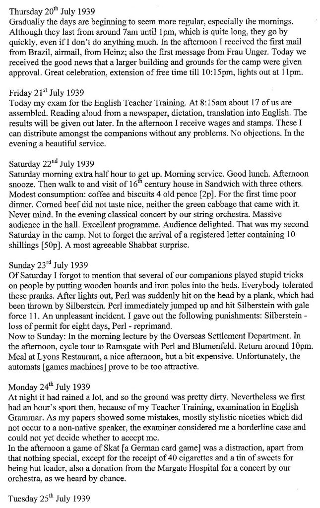 Lothar Nelken, Kitchener Camp diary, 1939 to 1940, page 3, Thursday 20 July to 24 July 1939