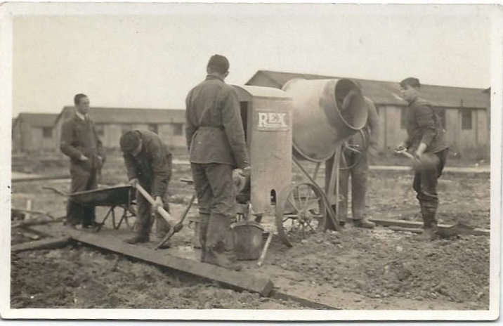 Richborough camp, Herbert Nachmann, on the right, holding a shovel.