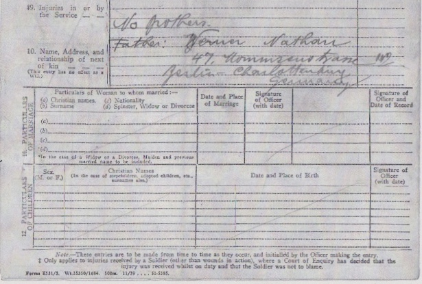 Max Heinz Nathan - Pioneer Corps - Military history