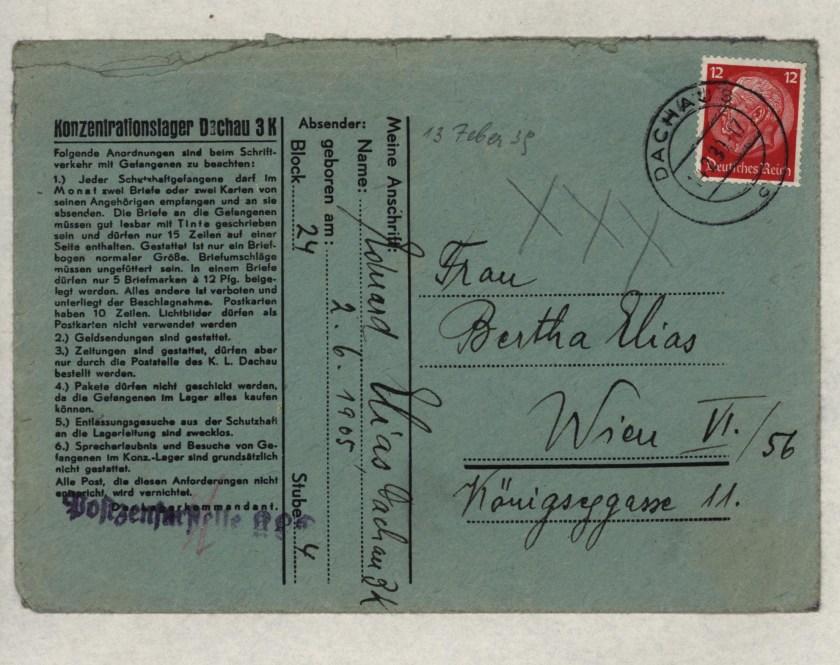 Eduard Elias, Dachau letter, 13 February 1939