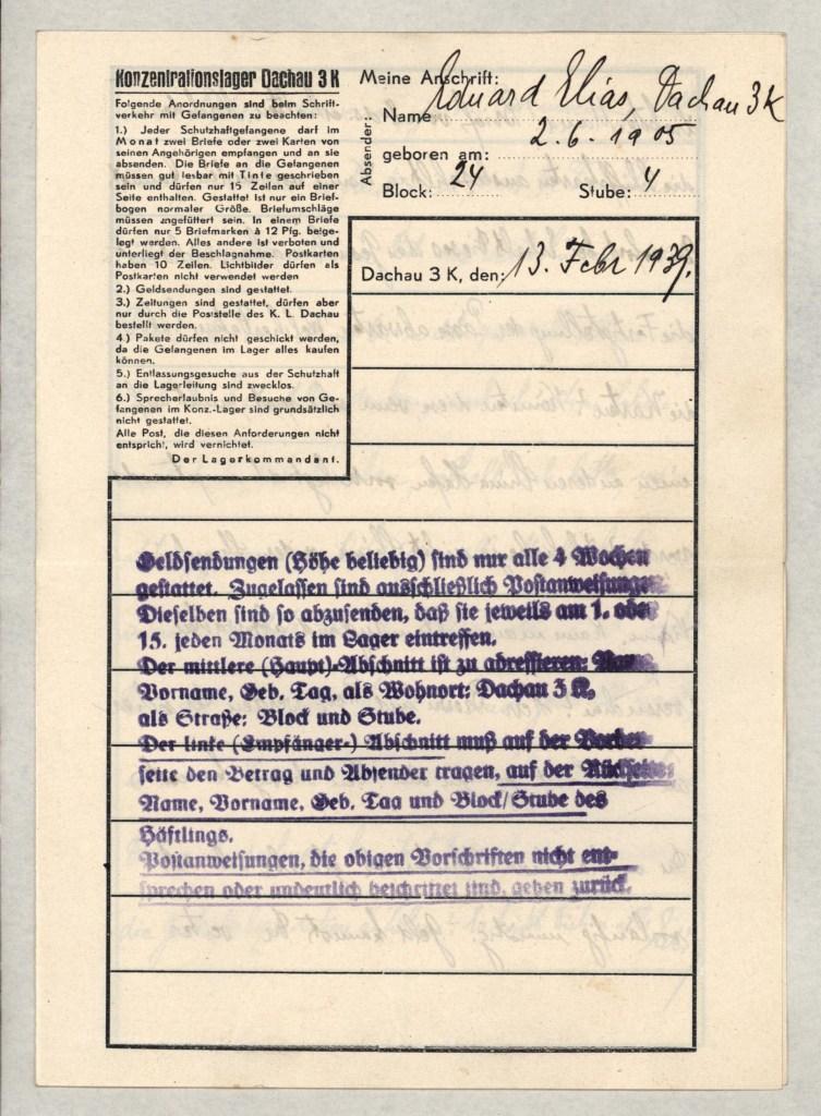 Eduard Elias, Dachau, Letter, 13 February 1939