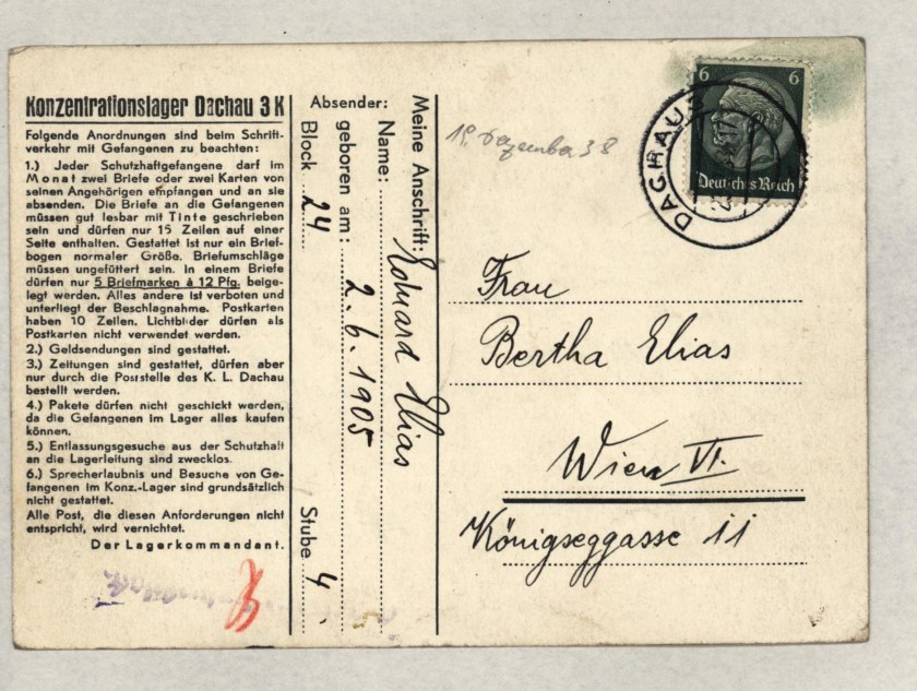 Eduard Elias, Dachau letter, 19 December 1938