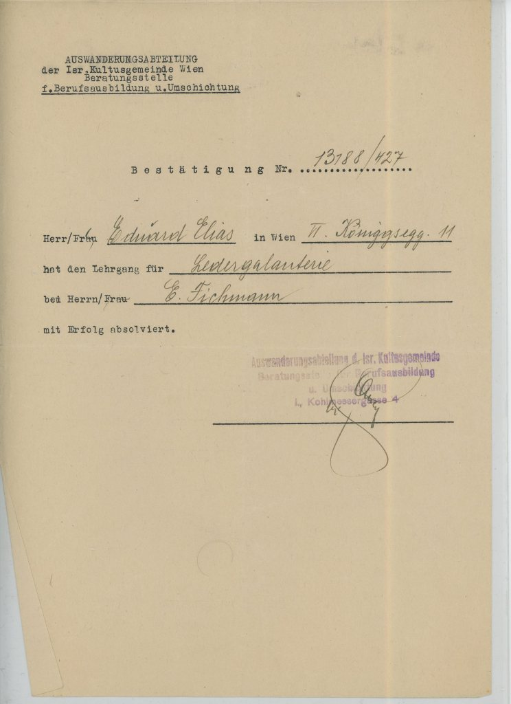 Eduard Elias, Eichmann document, IK