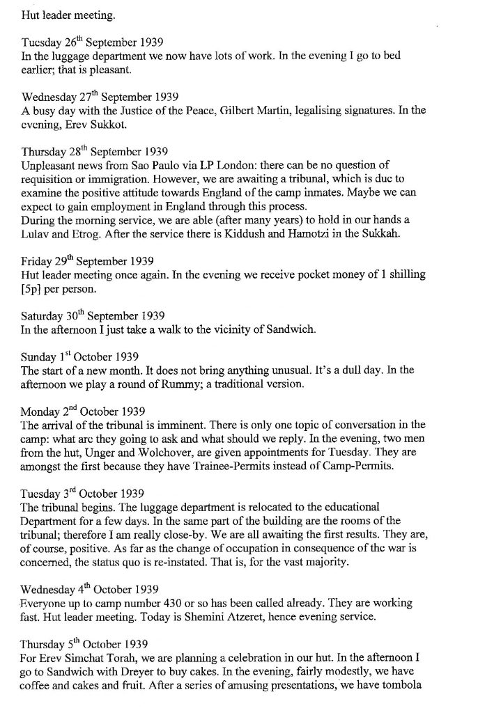 Lothar Nelken, Richborough Camp diary, 1939 to 1940, page 9, 26 September to 5 October 1939