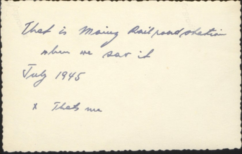 Kitchener camp, Emanuel Suessmann, Mainz railroad station, July 1945, reverse