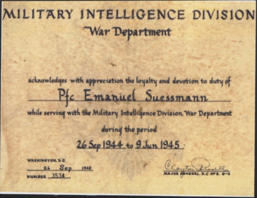 Kitchener camp, Emanuel Suessmann, Military Intelligence Division, certificate, 26 September 1945
