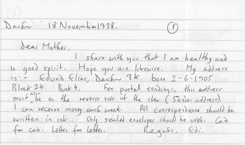 Eduard Elias, Dachau, Letter, 18 November 1938, translation