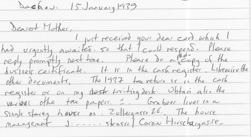 Eduard Elias, Dachau, Letter, 15 February 1939, translation