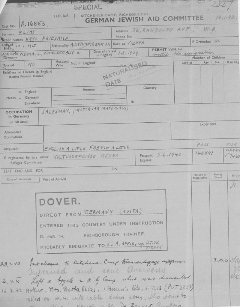 Richborough camp, Hans Friedrich Elias, German Jewish Aid, page 1