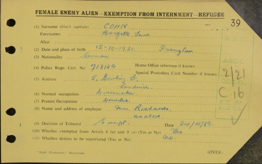 Brigitte Cohn, Exemption from internment card